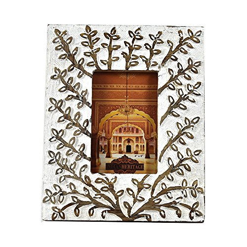 Indian Heritage Wooden Photo Frame 4x6 Mango Wood Carving Design with White Distress Finish by Indian Heritage