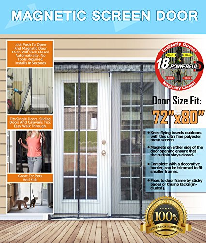 N-Green Double Door Magnetic Screen - Heavy Duty Mesh Curtain with Full Frame Velcro and Powerful Magnets that Snap Shut Automatically for Patio, Sliding, French Door (Fits doors up to 72''x80'' Max) (French Patio Door)
