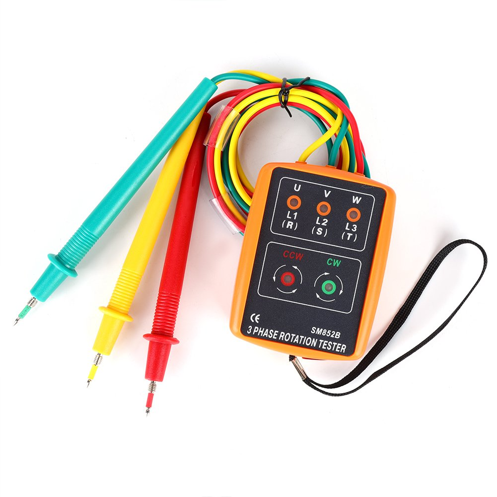 SM-852B 3-Phase 60V~600V AC Sequence Order Rotation Indicator Tester 20Hz-400Hz with LED and Buzzer Tester Phase Indicator