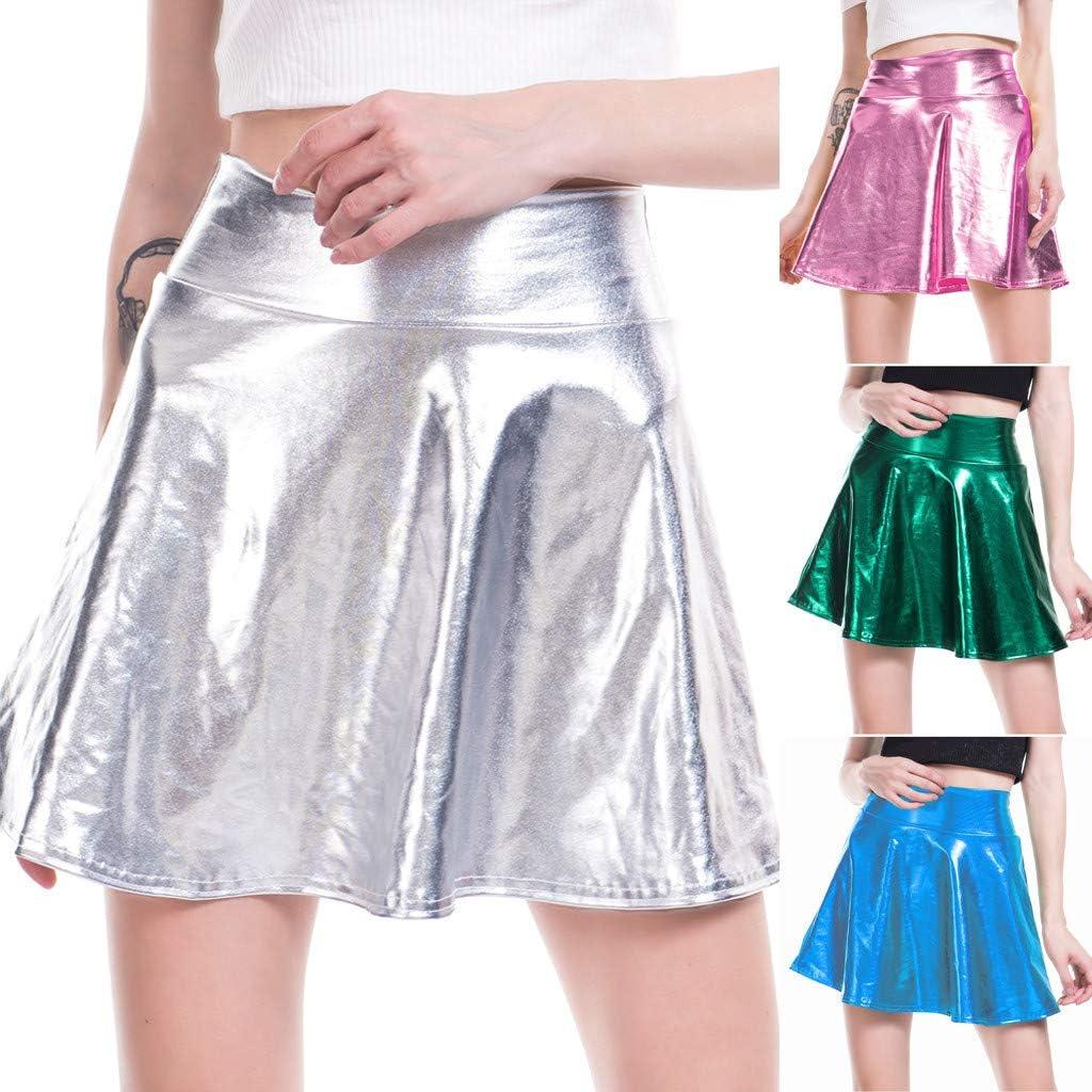 Women's Basic High Waist Pleated Skirt Ladies Girls A-Line Shiny Solid Casual Base Mini Flared Tennis Sports Skirt 08 Blue
