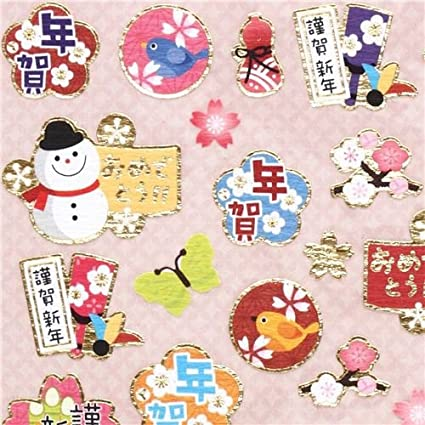 cute small happy new year stickers with snowman birds flowers