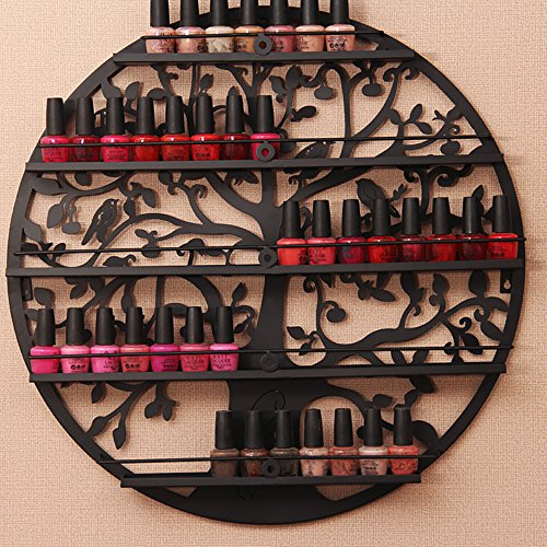 AISHN Nail Polish Rack Holder, Essential Oil Organizer, Wall Mounted 5 Tier Round Metal Salon Wall Art Display ()