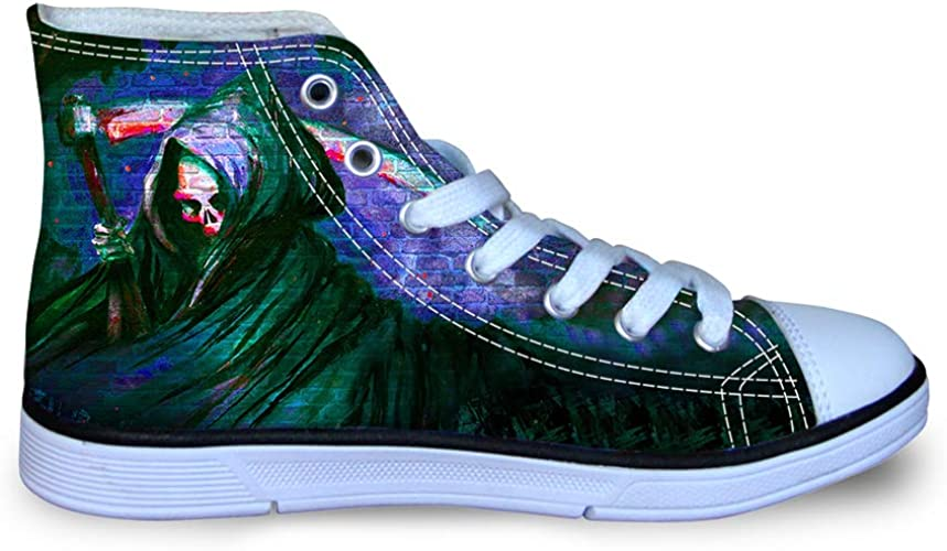 Canvas High Top Sneaker Casual Skate Shoe Boys Girls View of Skull Grim Reapers Back