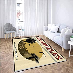 Apartment Decor Collection Kitchen Area Rugs Los Angeles City from California in Vintage Style Birds Vacation Journey Design Gifts for Men,6' x 7', Ivory Olive Red