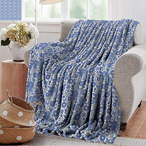 Flower Wholesale Dutch (Throw Blanket for Couch,Dutch,Delft Style Flowers in Doodle Style Abstract Petals Leaves Butterflies,Violet Blue and White,Flannel Blankets Super Soft Warm Thick Blanket for Home 30