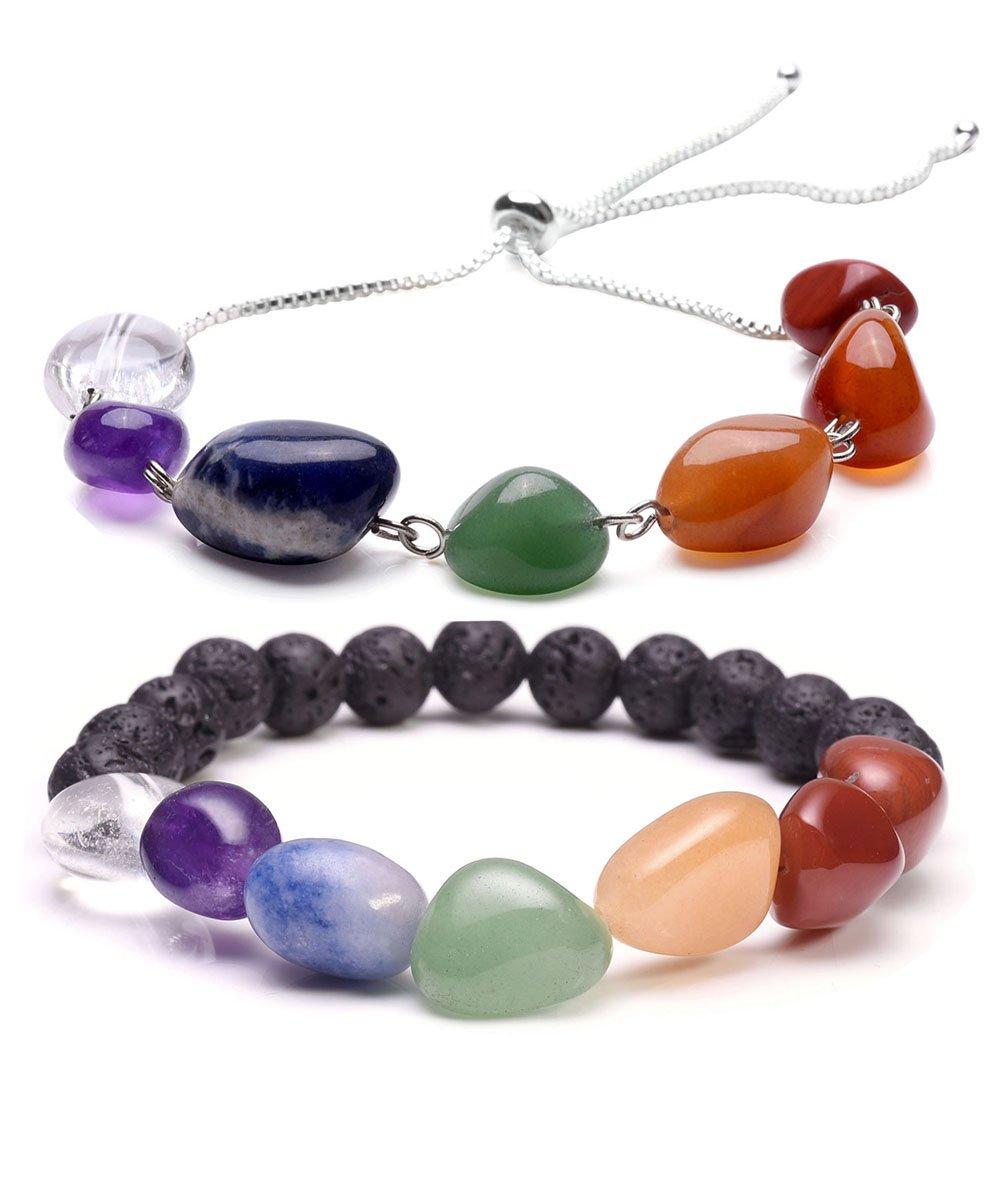 Top Plaza 7 Chakra Irregular Tumble Gemstones Healing Crystal Natural Lava Stone Aromatherapy Essential Oil Diffuser Elastic Bracelet(7 Chakra Irregualr Tumble Stones Set)