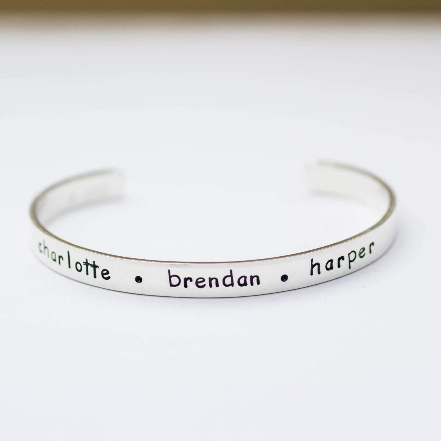 Sterling Silver Handmade Personalized Cuff Bracelet with Childrens Names