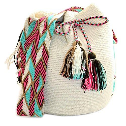 Bolso, Mochila Wayuu Original - Blanco- Diseños exclusivos - Estilo - Wayuu-123: Amazon.es: Zapatos y complementos