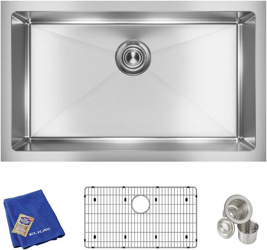 Elkay Crosstown EFRU2816TC 16 Gauge Stainless Steel 30-1 2 x 18-1 2 x 8 , Single Bowl Undermount Sink Kit