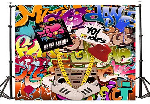 TMOTN 7x5FT Graffiti Photography Backdrop Retro Style 90's themed Party Decoration Photo Bacground Studio Props D1648 by TMOTN