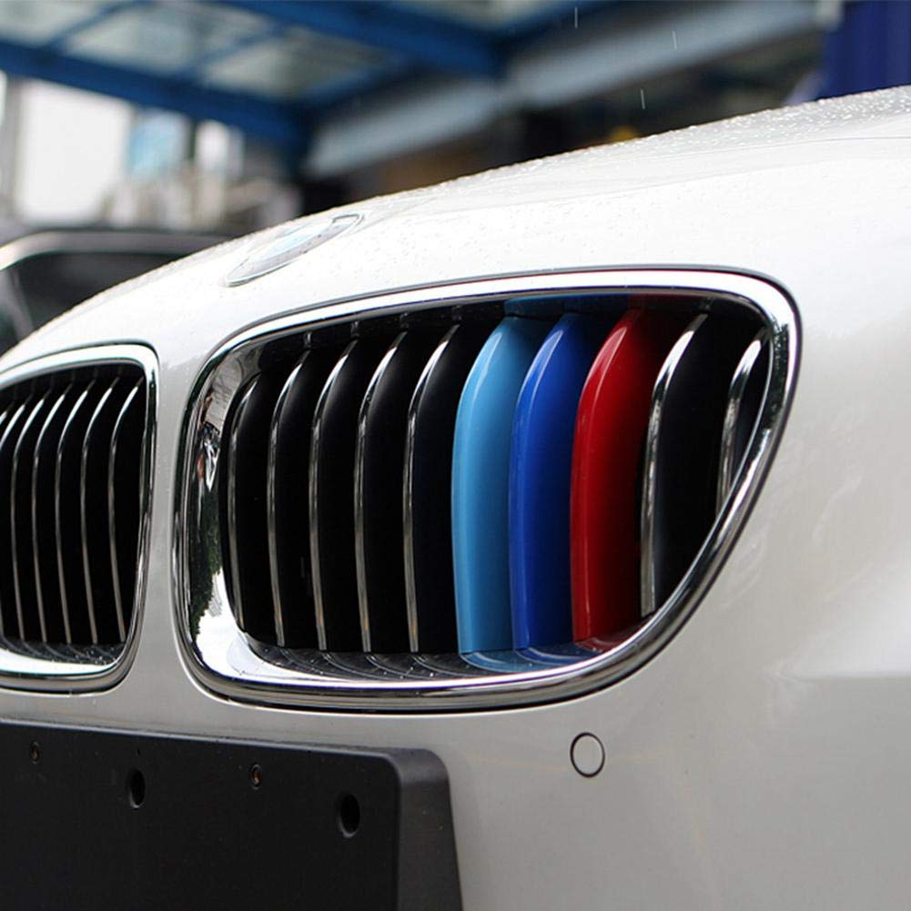 For BMW 2013-2016 3 Series,8 Beams Pawaca M-Colored Stripe Grille Insert Trims for 2013-2018 BMW F30 F31 3 Series 320i 328d 328i 335i M-Performance Black Kidney Grilles
