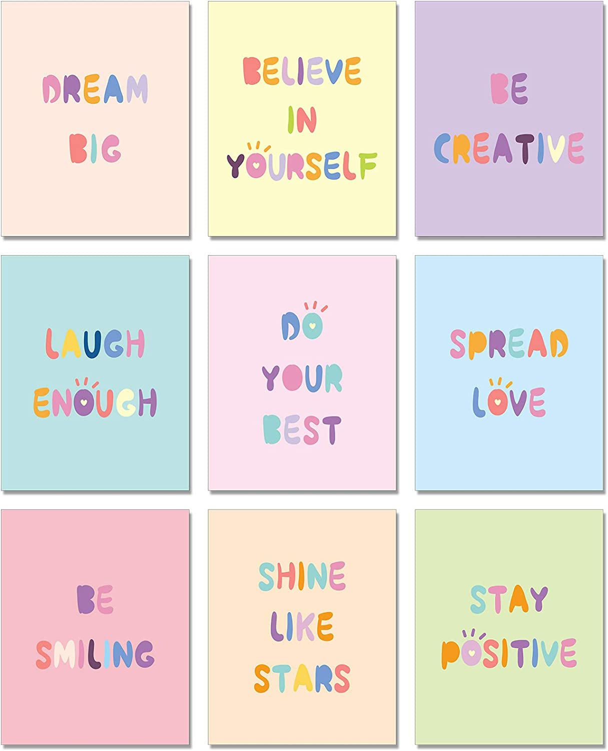 9 Pieces Inspirational Wall Art Printing Posters Minimalist Typography Positive Quotes Sayings Posters Room Wall Art for Kids Teen Girls Room Nursery Home Decor Unframed