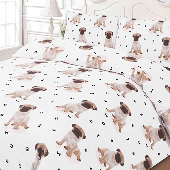 Dreamscene – lujosamente suave Animal Pug funda de edredón juego ...