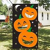 4 Durable Polyester Bean Bags Pumpkin Banner Set Outdoor for Kids Children Family Party Decorations Hicet Halloween Bean Bag Toss Game