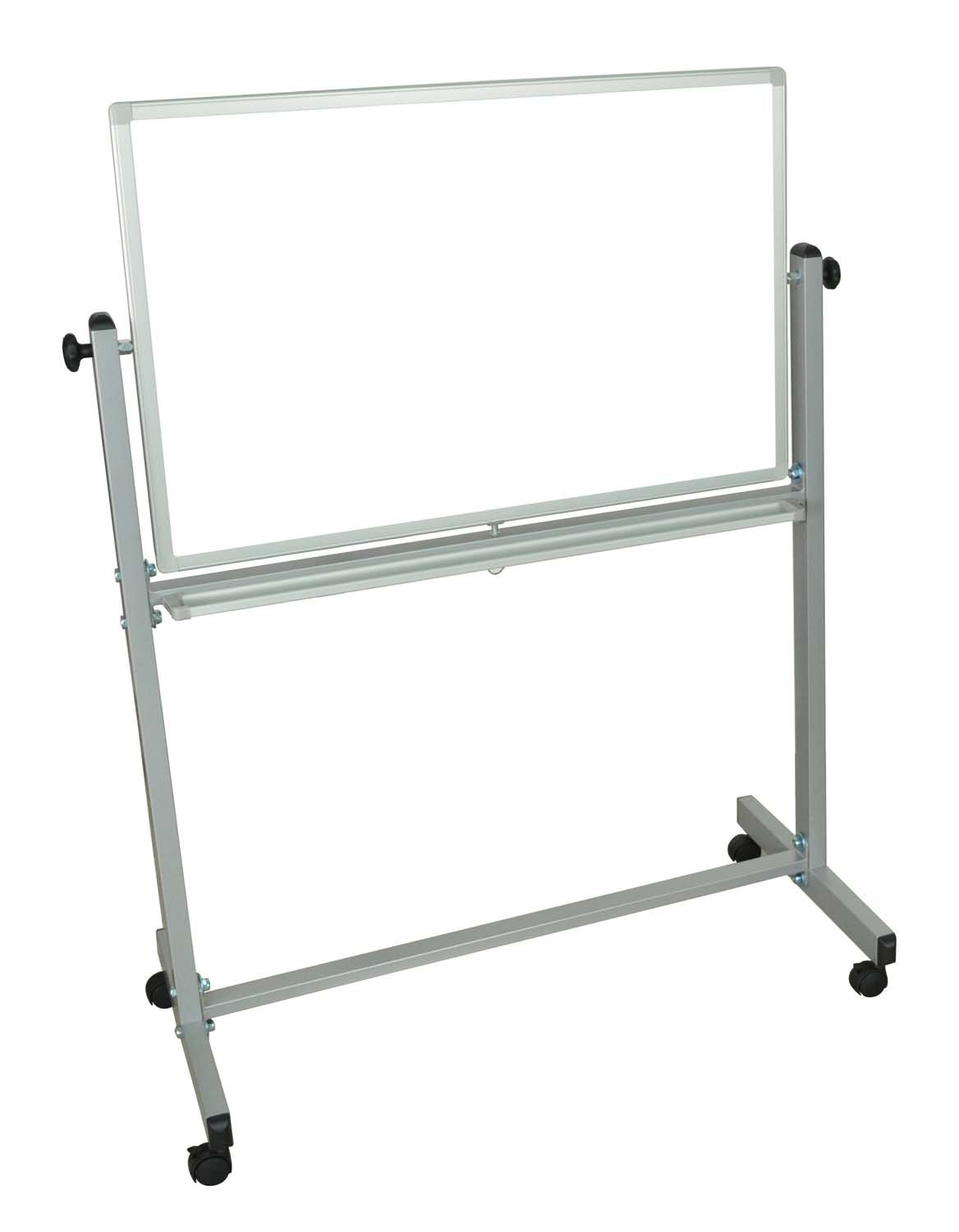 Offex Mobile Double Sided 36 x 24 Inches Reversible Adjustable Magnetic Whiteboard Easel with Chrome Frame, 4 Casters (OF-MB3624WW)
