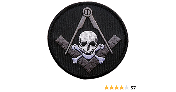 Widows Sons Compass Skull Patch Black Silver Iron Sew Freemason Oval NEW!