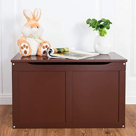 Costzon Toy Storage Chest Organizer, Wooden Toy Box with 2 Safety Hinge Lid for Kids Espresso