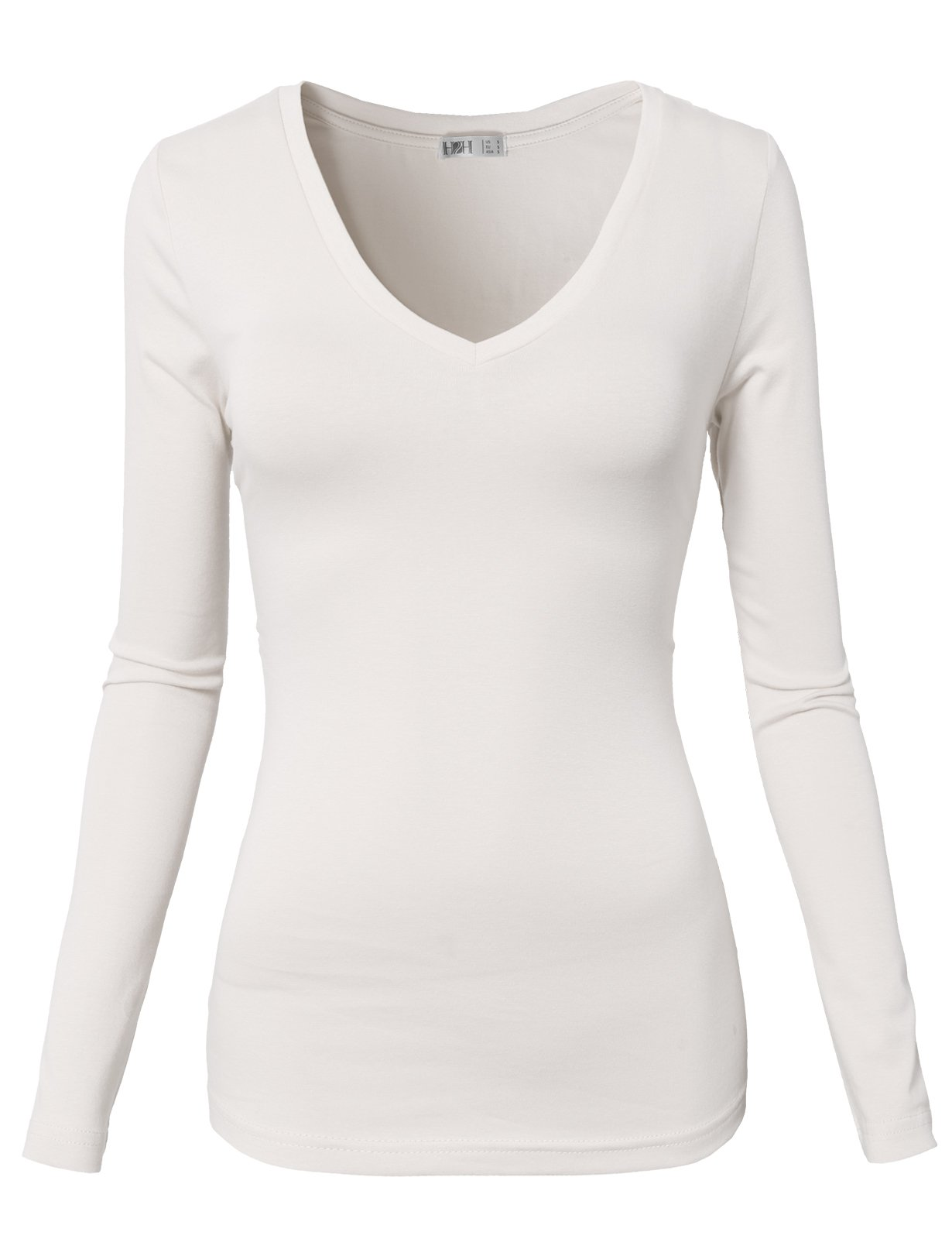 H2H Womens Basic Slim Fit Tri-Blend Long-Sleeve Scoop Tee White US S/Asia S (CWTTL0172)