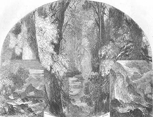 LANDSCAPES. English Songs & Melodies. Eolian harp - 1856 - old antique vintage print - engraving art picture prints of Landscapes Performing Arts - Illustrated London News