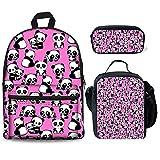 HUGS IDEA Pandas Backpack Set for Teen Girls Cute Animal Kids School Bag with Lunchbox Pencil Case