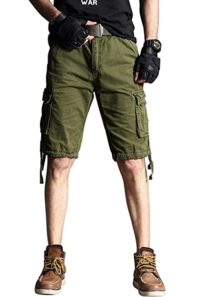 22b938cc77b FLY HAWK Men's Chino Cargo Casual Pants, Cotton Combat Trousers Multi  Pockets Workwear