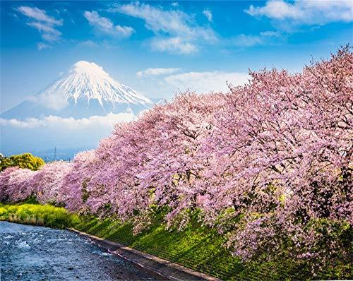 AOFOTO 10x8ft Japan Spring Cherry Blossom and Fuji Mountain Backdrop Vinyl Iriyamase Town City Landscape Riverside Blooming Sakura Pink Flowers Tree Background for Photography Photo Studio -