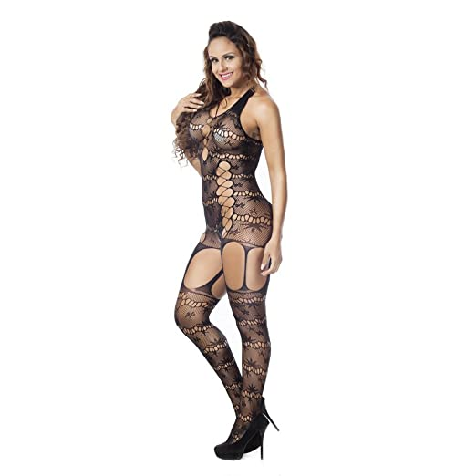ae89e8beba3 SUNBIBE Women Lingeries Sexy Black Lace Hollow Fishnet Bodystocking  Crotchless Tights Free Size Conjoined Net Bodysuits