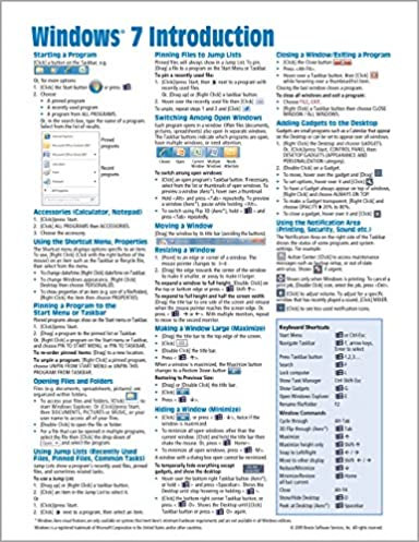 windows 7 quick reference guide cheat sheet of instructions tips rh amazon com windows 7 quick reference guide