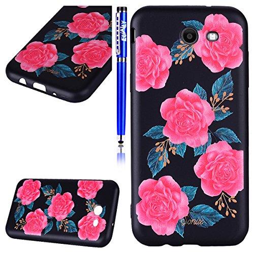 Funda Samsung Galaxy J3 2017(Versión US), EUWLY Negro Silicona Fundas para Samsung Galaxy J3 2017 Goma Gel Suave TPU Cárcasa Caso con Pintura Dibujos Impresión En Relieve Patrón Bumper Case Cover Ultr Rose flores rosa