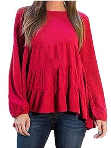 BESTHOO Mujeres Elegantes Ocasionales Color SÓLido Camisetas Con Manga Larga Camisa T-Shirt Blusa To...