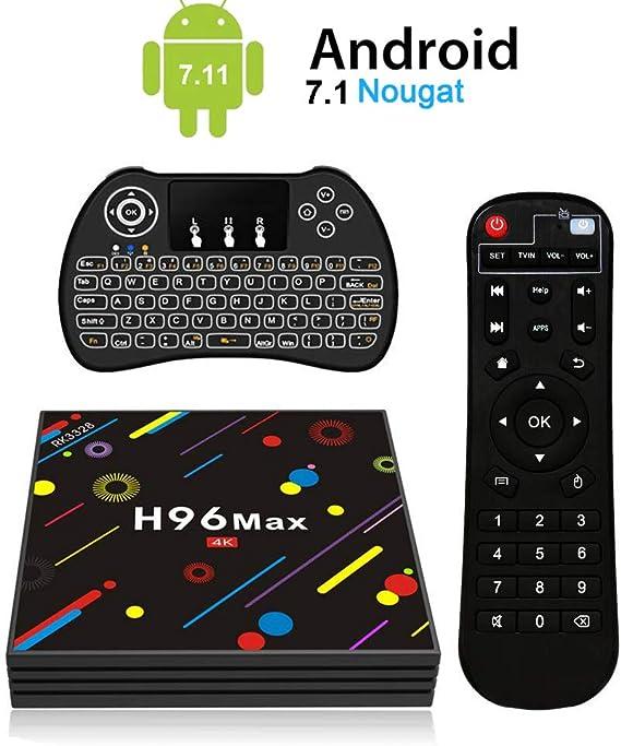 H96 MAX Android 7.1 TV Box [4GB/32GB/4K] RK3328 Quad Core 64Bits Dual WiFi 2.4GHz/5.0GHz Bluetooth 4.0 H.265 con Mini Teclado Retroiluminado Inalámbrico Smart TV Box: Amazon.es: Electrónica