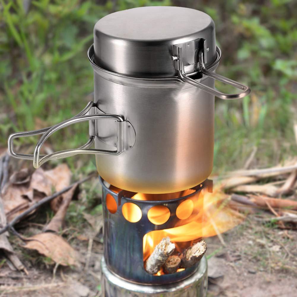Zaoyun Camping Kocher Outdoor Holzofen Campingkocher Titanium//Edelstahl f/ür Picknick Wandern BBQ