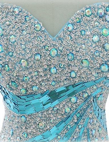 Damen Zurück Tüll Ballkleider Blau Abendkleid Meerjungfrau Lange Izanoy dtHwqat