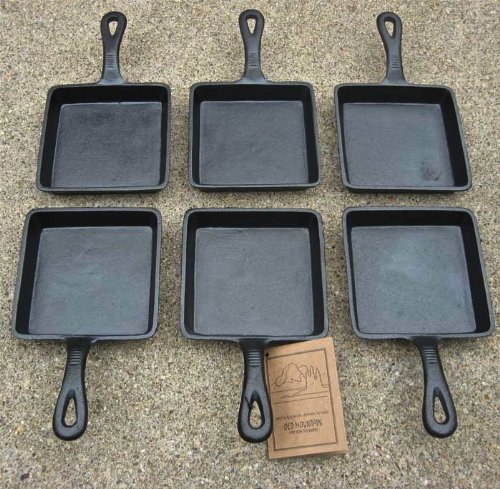 古いMountain Square Single Serve Cast Iron Skillet – Preseasonedのセット6 B00ERU2YKI
