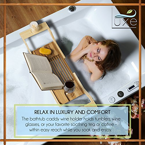 Luxe Expandable Bamboo Bathtub Caddy Adjustable Wooden Serving Tray & Organizer w Book Reading Rack, Wine Glass Holder by Luxe (Image #1)