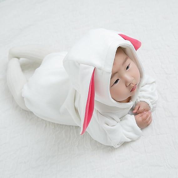 9eee89c462405 GEMVIE Combinaison Bébé Fille Garçon Lapin Vêtement à Capuchon Mignon  Manches Longues Pyjama Costume de Déguisement Grenouillère Fête Printemps  Automne  ...