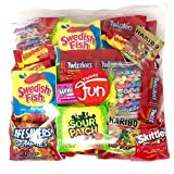 Halloween Candy Party Mix Bag Includes Skittles Swedish Fish Nerds Haribo Gummy Sour Patch Twizzlers Life Savers Starburst Sweet Tarts (40 Ounce)