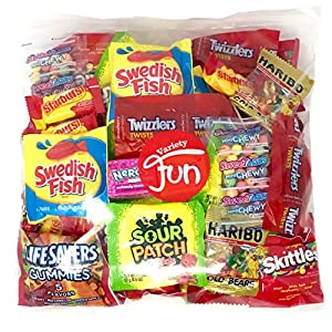 Candy Party Mix Bag Includes Skittles Swedish Fish Nerds Haribo Gummy Sour Patch Twizzlers Life Savers Starburst Sweet Tarts by Variety Fun (40 Ounce)