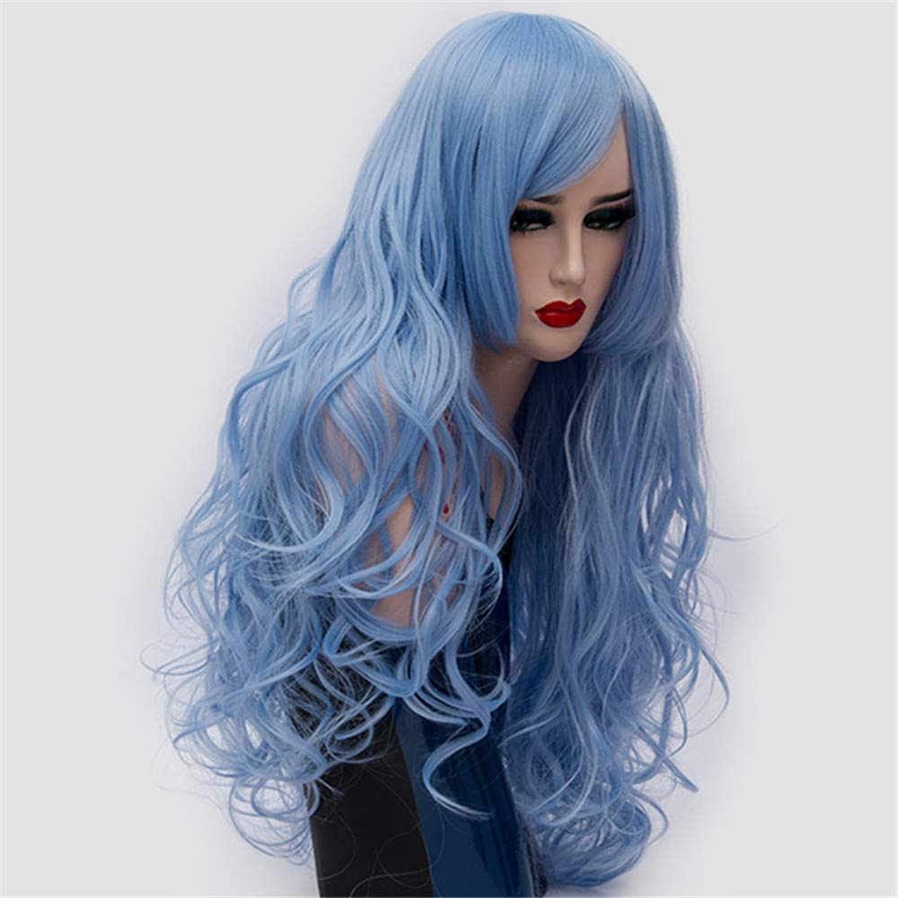 LONGLOVE European and American Wigs European and American Fashion Big Wave Long Curly Hair (Sky Blue) by LONG LOVE (Image #2)