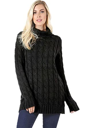 4354483a9563 Sweaters for Women Turtle Cowl Neck Ribbed Cable Long Sleeve Acrylic Knit  Jumper-Black (