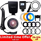 Ring Flash, FOSITAN 48 LEDS Macro Ring Flash Light for Nikon Canon, Macro Photography Light with LCD Display Power Control, 4 Flash Diffusers, 8 Adapter Rings for Nikon Canon DSLR Camera