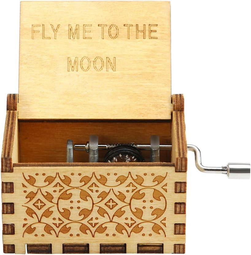 Retro Wooden Music Box Antique Hand Crank Engraved Toys Kids Birthday Xmas Gift