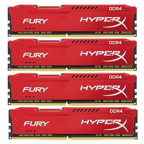 HyperX Fury Red 64GB DDR4 2400MHz Kit módulo de - Memoria (64 GB, 4 x 16 GB, DDR4, 2400 MHz, 288-pin DIMM, Rojo)