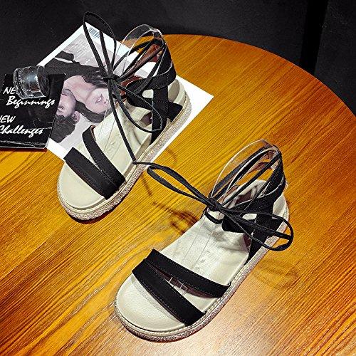 RUGAI-UE Las mujeres sandalias de verano zapatos simple estudiante Black