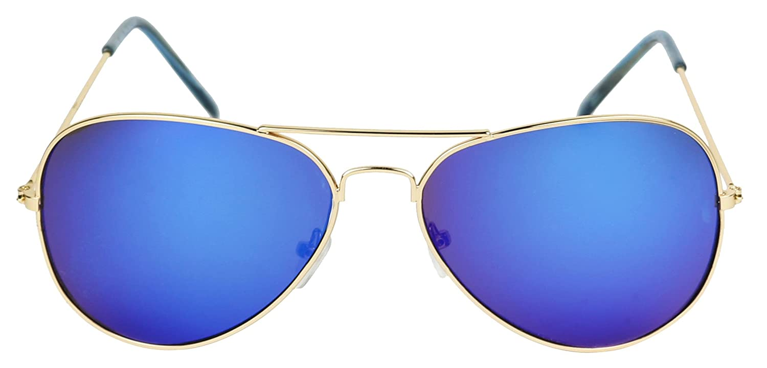 Classic Teardrop Metal Pilot Aviator Sunglasses w//Mirrored Color Reflective Lens Basik Eyewear