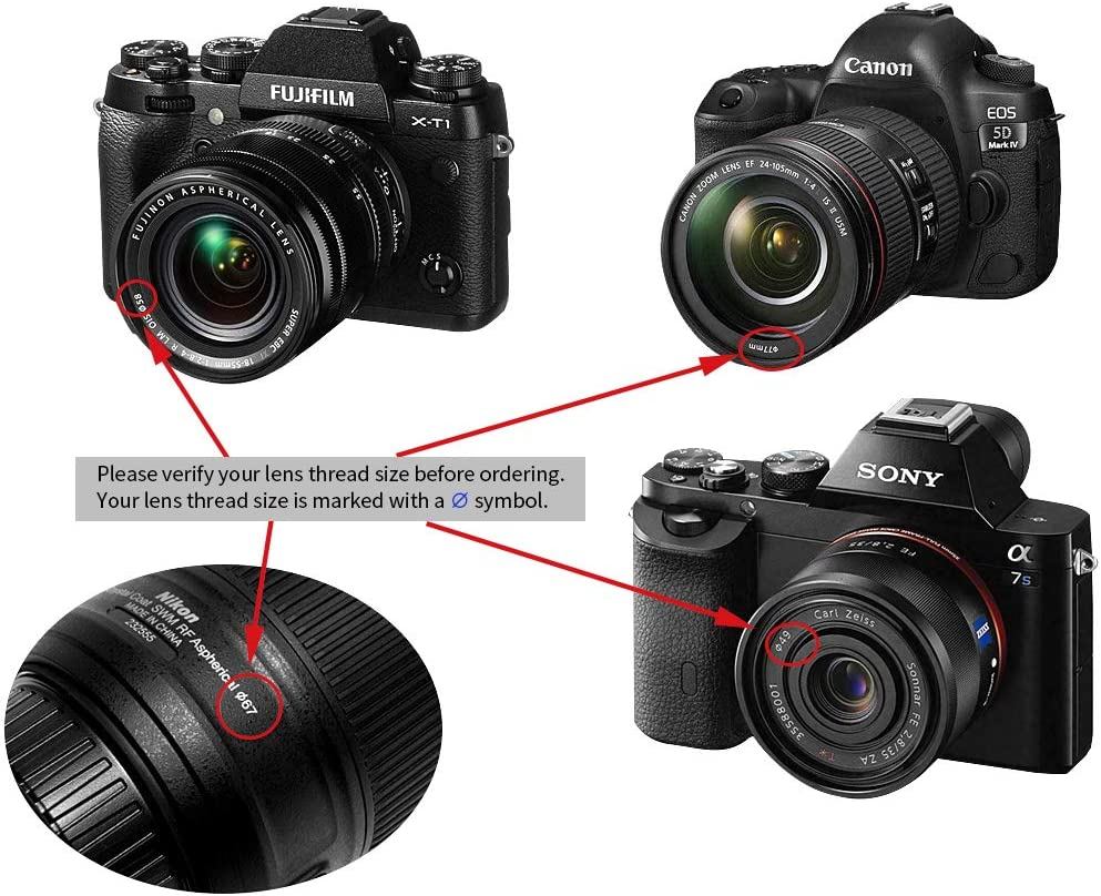 2Pcs Center Pinch Lens Cap and Cap Keeper Leash for Canon Nikon Sony Fuji Olympus Panasonic DSLR Camera 67mm Microfiber Cleaning Cloth