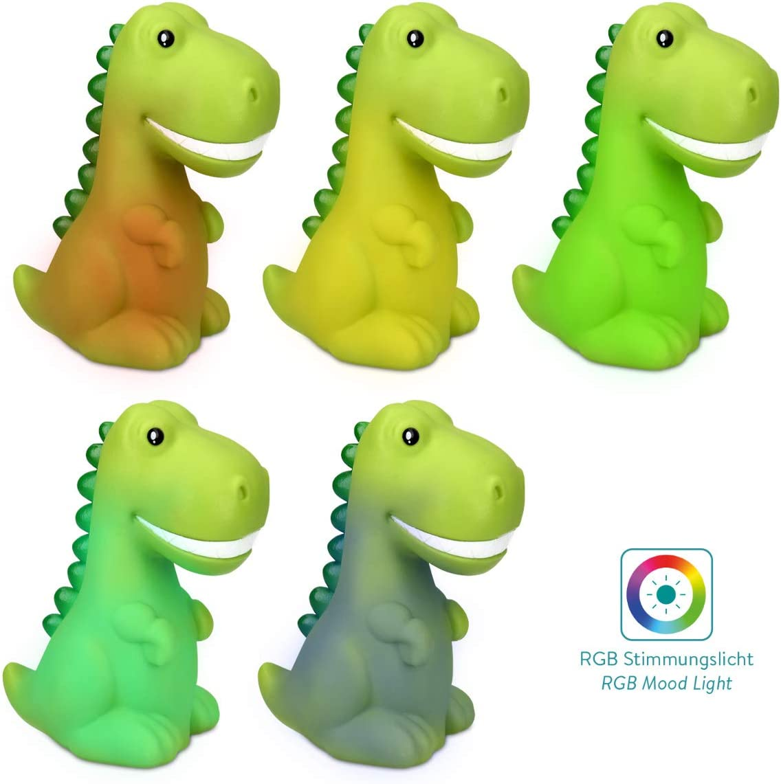 Rechargeable RGB Colour Changing LED Lamp for Girls and Boys Nursery Bedside Table Childrens Room Green Navaris Dino Night Light for Kids