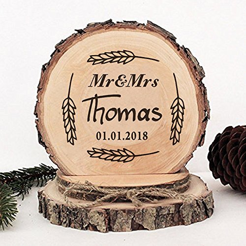 KISKISTONITE Wooden Wedding Cake Toppers Rustic, Personalized Wheat Ears Design, Engraved Mr and Mrs Country Style Cake Decoration Favors Party Decorating Supplies by kiskistonite (Image #2)