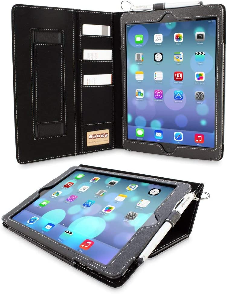 "Snugg iPad 9.7 (2018/2017) & iPad Air Executive Case, Black Leather Smart Case Cover Apple iPad Air and New iPad 2017 9.7"" Protective Flip Stand Cover with Pocket and Card Slots"