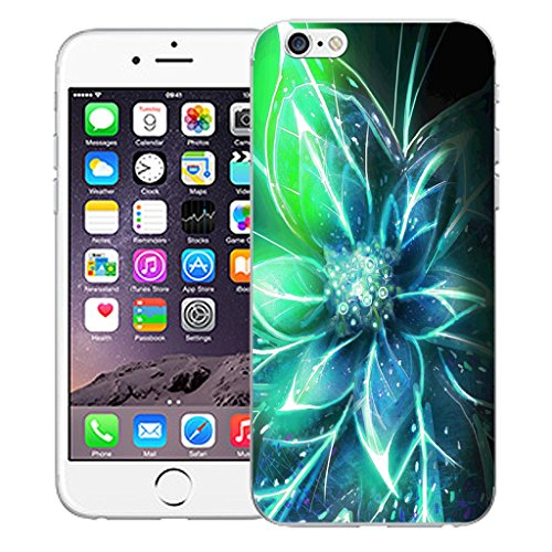 "Mobile Case Mate iPhone 6S 4.7"" Silicone Coque couverture case cover Pare-chocs + STYLET - Blue Funky Flowers pattern (SILICON)"
